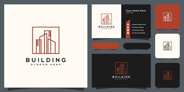 building real estate symbol vector design and business card