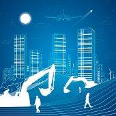 Building scene, sand dunes, mountains, night city