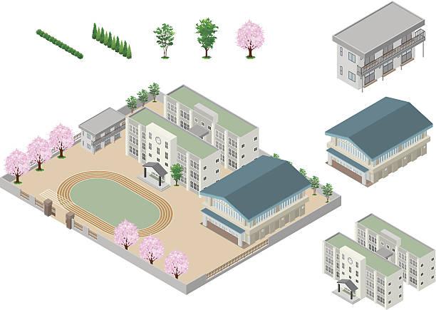 ilustraciones, imágenes clip art, dibujos animados e iconos de stock de edificio de escuela secundaria - escuela media
