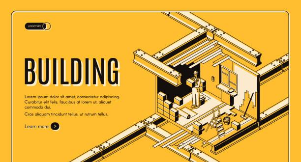 Building service isometric vector web banner vector art illustration