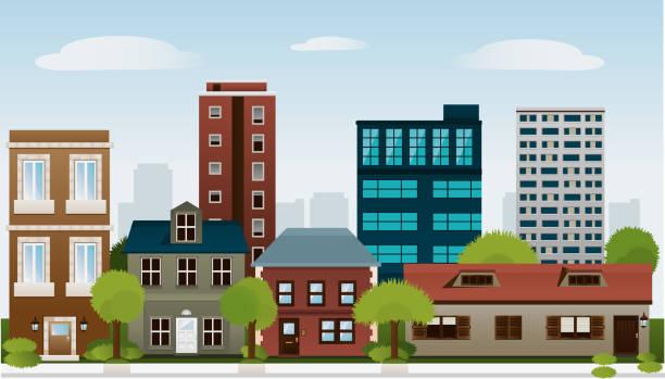 gebäude satz von häuser architektur bau outbuilding apartment-haus - turm bauwerk stock-grafiken, -clipart, -cartoons und -symbole
