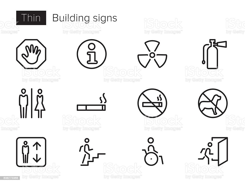 Building signs vector icons set vector art illustration