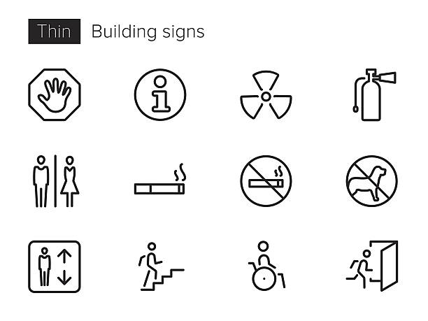 Building signs vector icons set An outline vector icons set with Building signs and symbols emergency equipment stock illustrations
