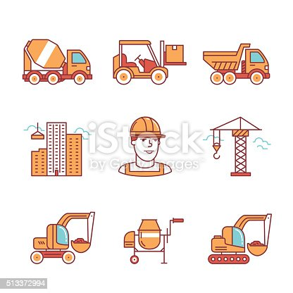 Building site engineering and machinery. Thin line art icons. Flat style illustrations isolated on white.