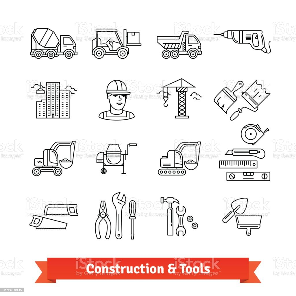 Building site engineering and tools set vector art illustration