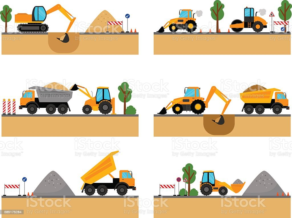 Building site machinery vector icons vector art illustration