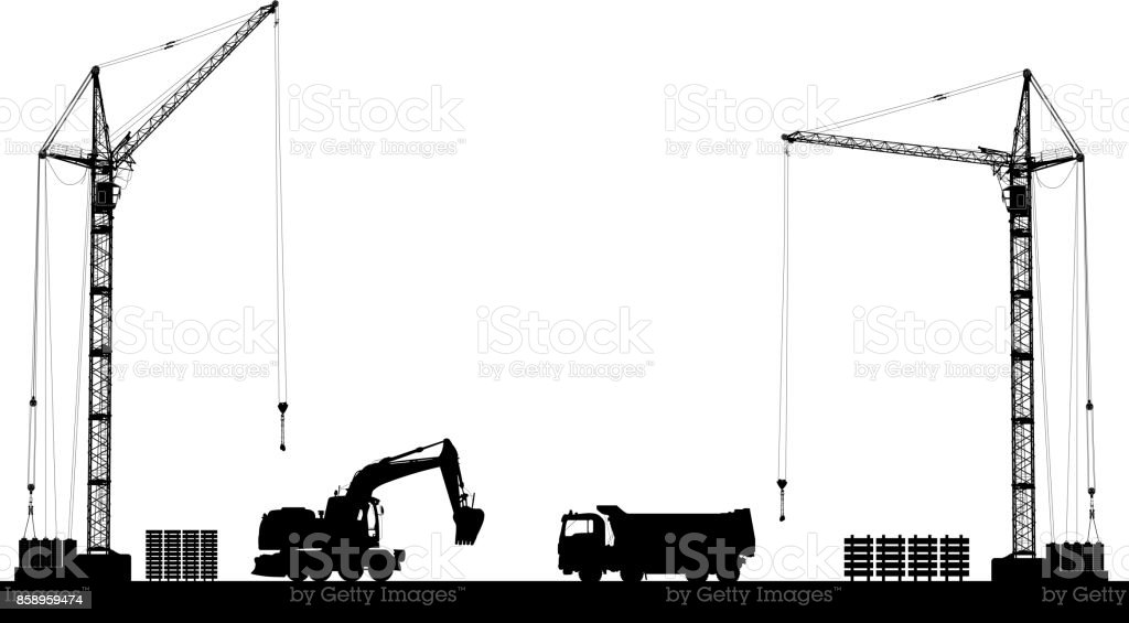 Building site with detailed silhouettes of construction machines on white background. Vector illustration vector art illustration