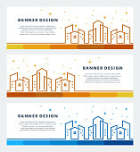 building skyline city web banners template with Islamic design - Vector