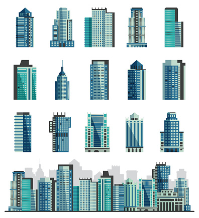 Building Skyscraper Or City Skyline Vector Set Cityscape With Business Officebuilding Of ...