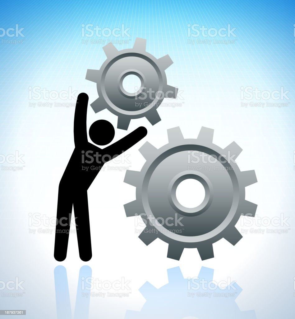 Building Stick Figure with Gears on Grid Background royalty-free stock vector art