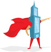 Building super hero standing with cape