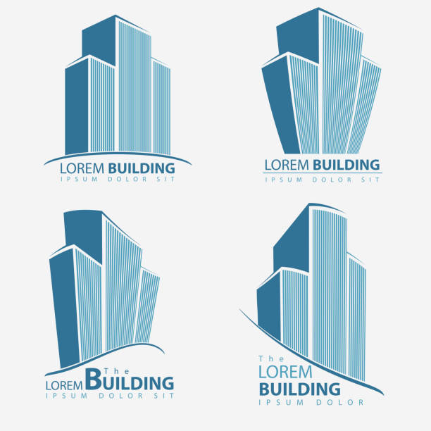Building symbol set, architecture business illustration Building symbol set, architecture business illustration, Architect construction Idea sign, real estate template. vector wall street stock illustrations