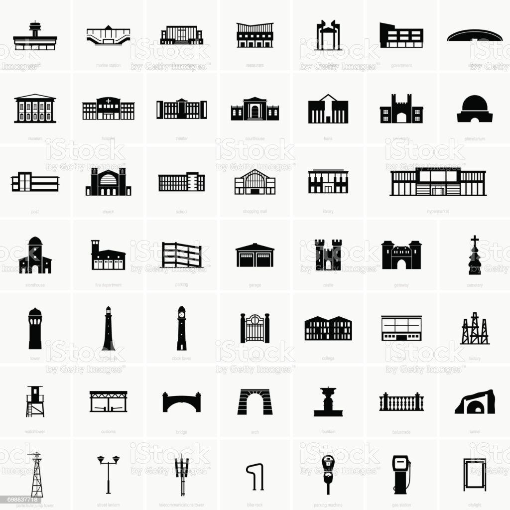 Building symbols vector art illustration