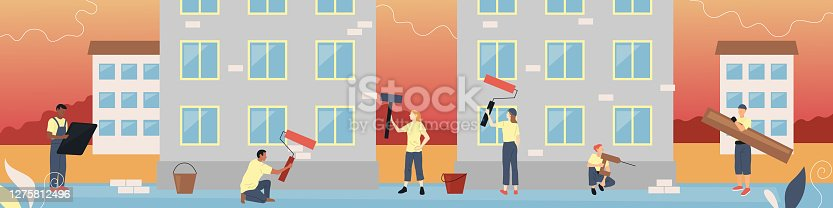 Building Team Service Concept. Group Of Characters In Uniform Painting The Facade Of Buldings, Doing Finishing Work. Building Team In Working Process. Colorful Linear Flat Style Vector Illustration.
