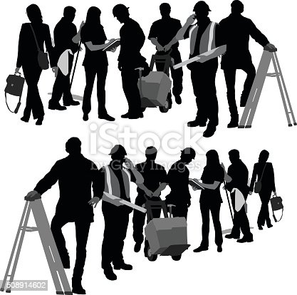 A vector silhouette illustration of two images of a line of workers including a business woman, janitor, nurse, construction worker, delivery man, foreman, and a man on a ladder.