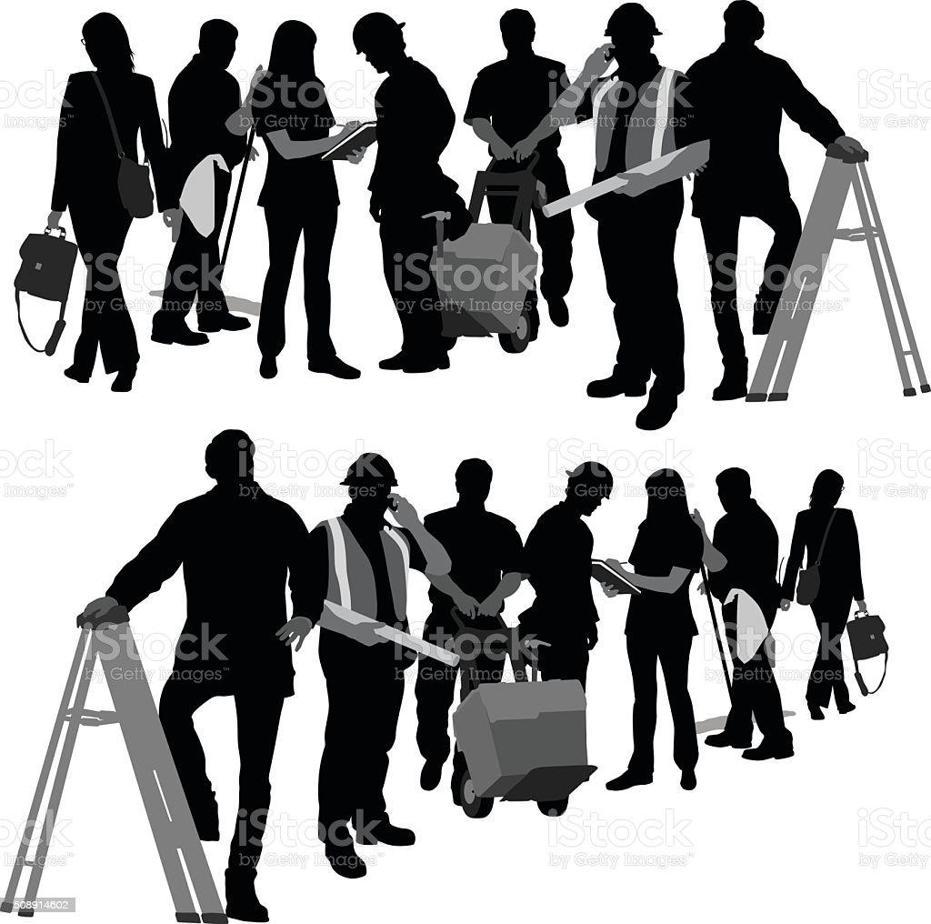 Edificio equipo - ilustración de arte vectorial