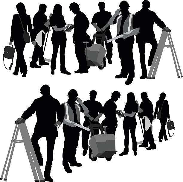 ilustraciones, imágenes clip art, dibujos animados e iconos de stock de edificio equipo - obrero de la construcción