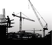 A vector silhouette illustration of a building being constructed. Cranes and construction equipment tower ovre the framework while a construction worker assembles rebar.