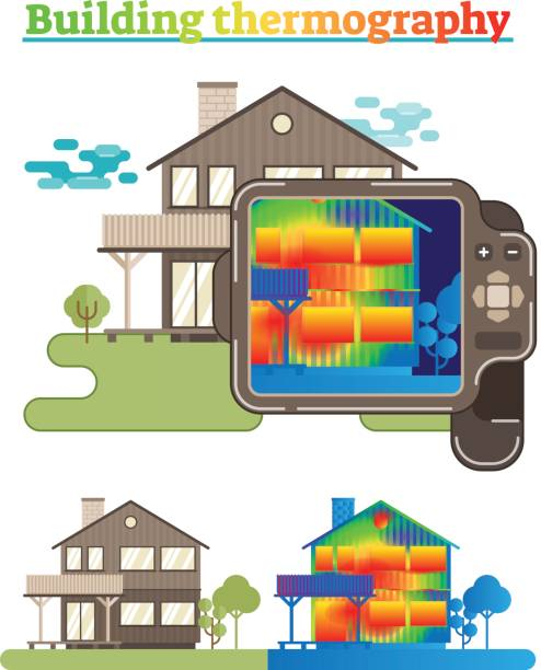 Building thermography illustration Illustrated house showing building thermography process infrared stock illustrations