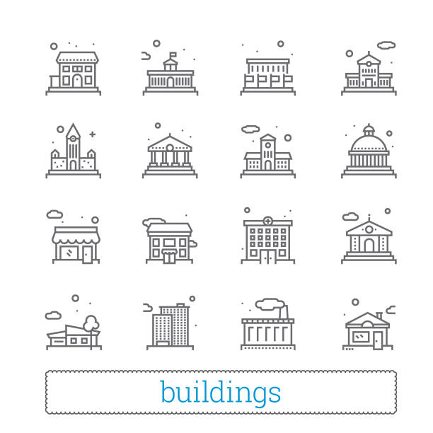Building thin line icons. Public, government, education and personal houses. Building thin line icons. Public, government, education and personal houses. Modern linear vector design elements of various places for maps, web interface and mobile services. Isolated on white background. campus stock illustrations