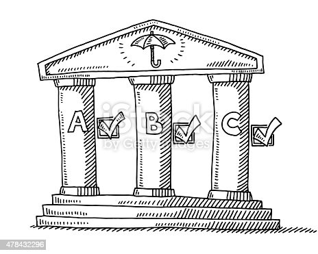 Hand-drawn vector drawing of a Building with Three Columns. Business Security Concept. On Top is an Umbrella Symbol. Each Column has a Letter and a Tick Mark. Black-and-White sketch on a transparent background (.eps-file). Included files are EPS (v10) and Hi-Res JPG.