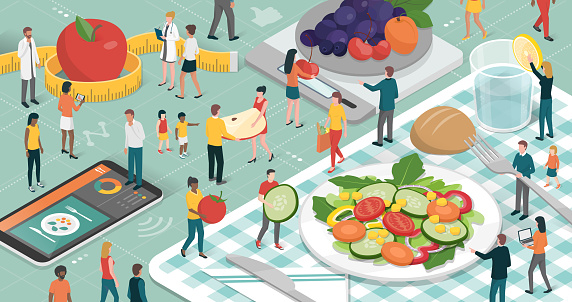 Healthy eating stock illustrations