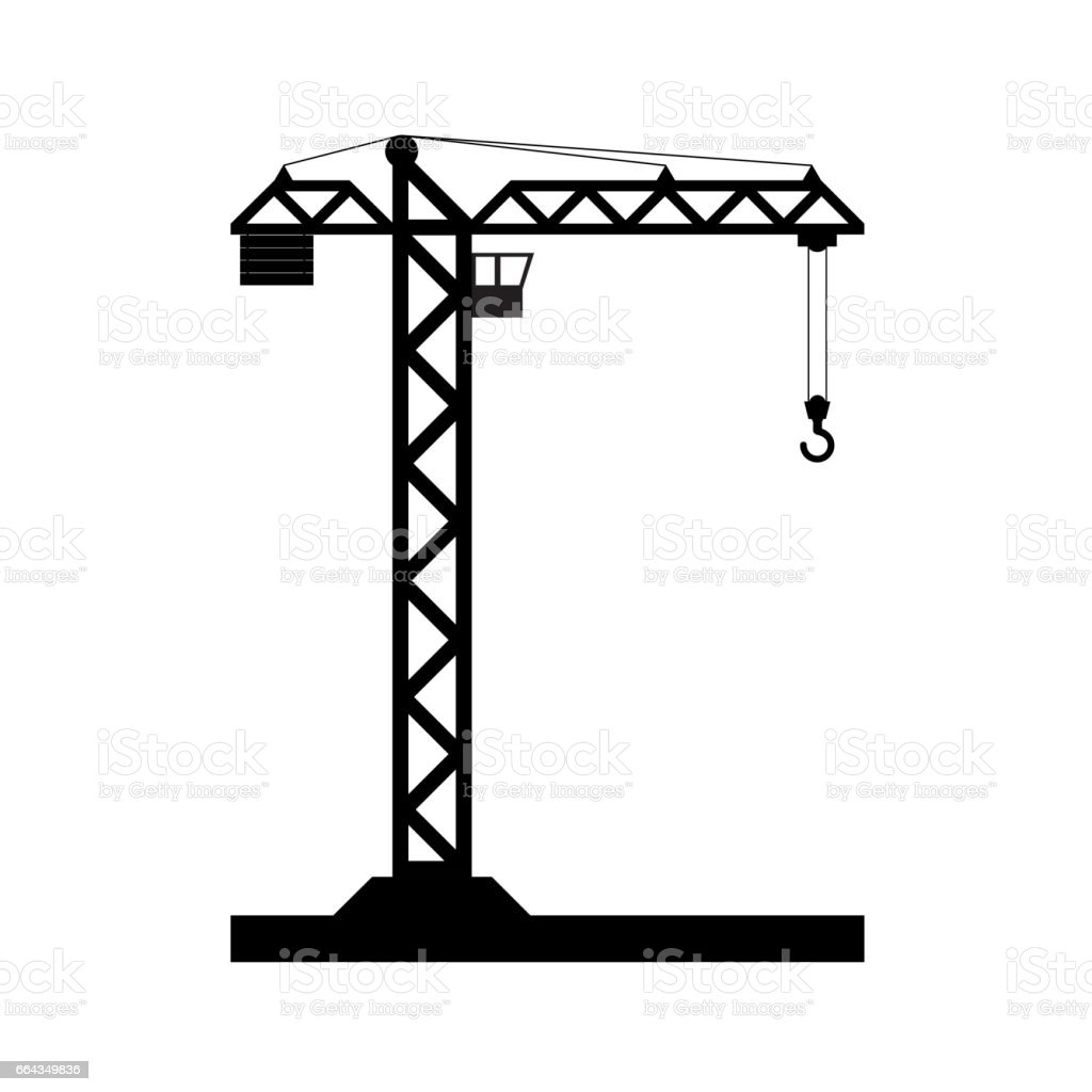 building tower crane icon vector stock vector art more images of rh istockphoto com crane clip art images clipart crâne