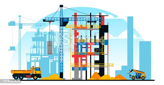istock A building under construction against the background of a city under construction. A site with heavy commercial vehicles. Crane, sand. Vector illustration 1318889508