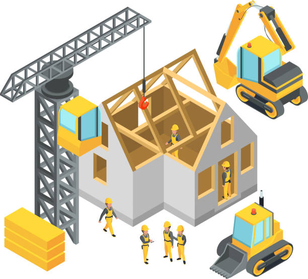 building under construction. isometric pictures set - architecture clipart stock illustrations