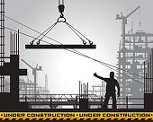 Vector illustration of building under construction silhouette.