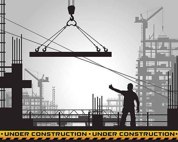 ilustrações, clipart, desenhos animados e ícones de edifício em construção silhueta. - operário de construção