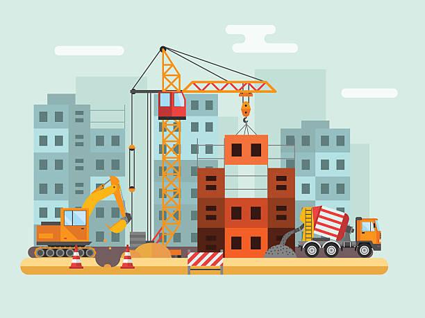 ilustrações, clipart, desenhos animados e ícones de edifício em construção, os trabalhadores e técnicas de construção ilustração vetorial - operário de construção