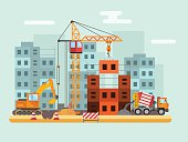 Building under construction, workers and construction technical vector illustration
