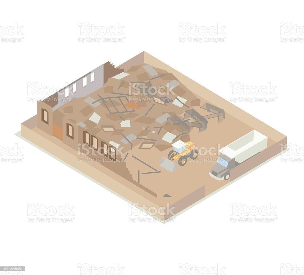 Building under demolition illustration vector art illustration
