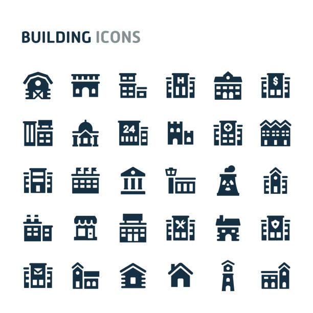 stockillustraties, clipart, cartoons en iconen met gebouw vector icon set. fillio zwarte icoon serie. - warenhuis