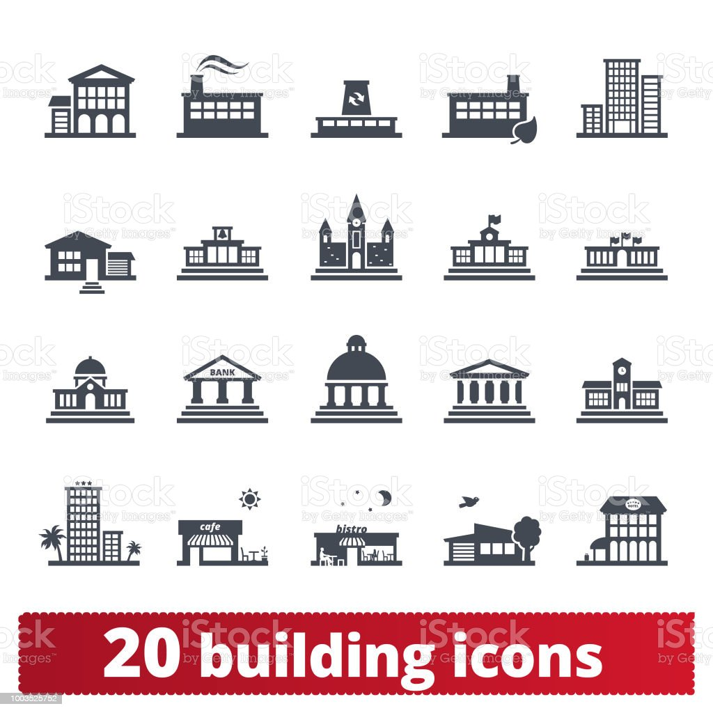Building Vector Icons Collection - Векторная графика Архитектура роялти-фри