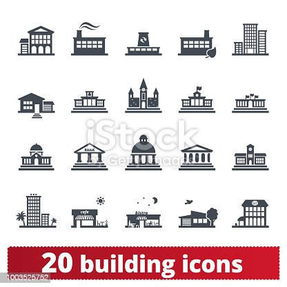 Building vector icons. Public, government, education and personal houses. User interface design elements of places for maps, web interface and mobile services. Isolated on white background.