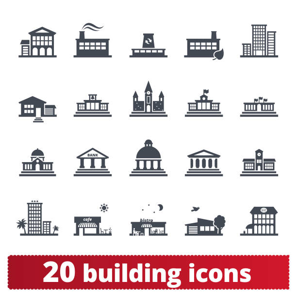Building Vector Icons Collection Building vector icons. Public, government, education and personal houses. User interface design elements of places for maps, web interface and mobile services. Isolated on white background. campus stock illustrations