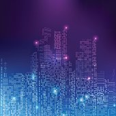 abstract technology background; digital building in a matrix style; technological city combined with lighting effect