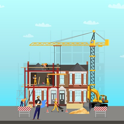 Building. Vector illustration. Men builders and construction equipment. Facebook cover