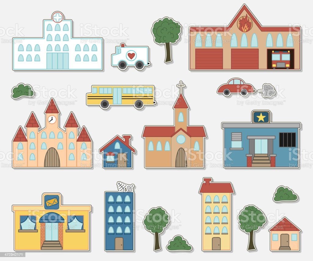 Building & vehicle stickers royalty-free stock vector art
