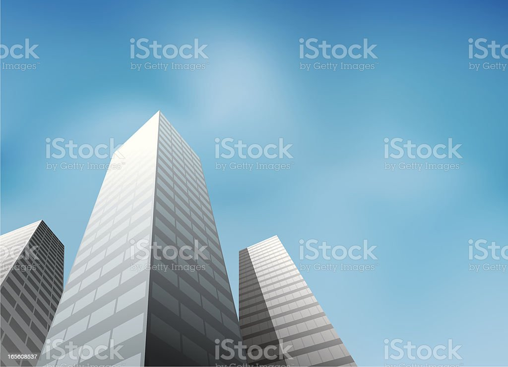 Building View On Low Angle vector art illustration