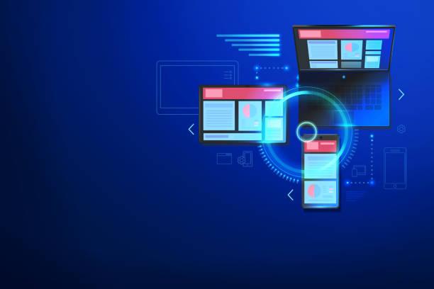 erstellen einer website für mehrere plattformen. web-cross-plattform-technologie consept. mobile schnittstelle für laptop, tablet, smartphone. - tablet mit displayinhalt stock-grafiken, -clipart, -cartoons und -symbole