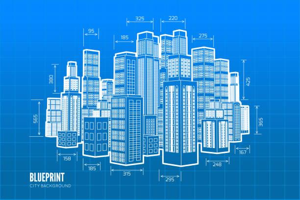 building wireframe. 3d render city. - wire frame model stock illustrations