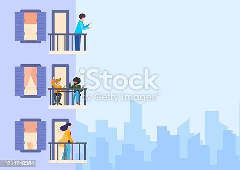 istock Building with balconies and windows, side view and angle. Characters standing and sitting on a terrace. Daytime, neighborhood, house outside with people. Architecture concept. Flat vector illustration 1214740384
