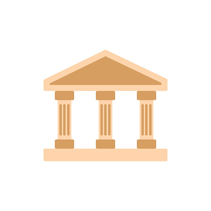Building with columns. Bank icon. University colorful symbol.