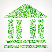 Building with Columns Environmental Conservation and Nature interface icon Pattern. This royalty free vector art features nature and environment icon set pattern. The major color is green and icons include trees, leaves, energy, light bulb, preservation, solar power and sun. Icon download includes vector art and jpg file.