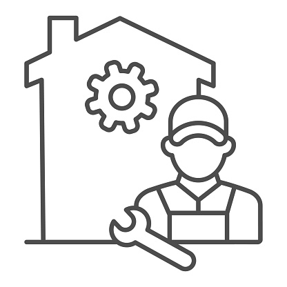 Building with gear and engineer thin line icon, smart home concept, smart house repair worker sign on white background, Home appliance service icon in outline style mobile, web. Vector graphics.