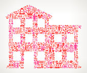 Building  Women's Rights and female empowerment Icon Pattern. The outlines of the main shape are filled with various women's rights and female empowerment icons. The icons vary in size and in the shade of the pink color. They form a seamless pattern and work in unison to complete this composition. The individual icons include classic female empowerment imagery of women in various aspects of life and promote social equality and achievement.