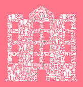 Building  Women's Rights and Girl Power Icon Pattern. The outlines of the main shape are filled with various women's rights and girl power icons. The icons are white in color. They form a seamless pattern and work in unison to complete this composition. The individual icons include classic girl power imagery of women in various aspects of life and promote social equality and achievement.
